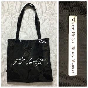 WHBM Large Black Patent Tote Bag